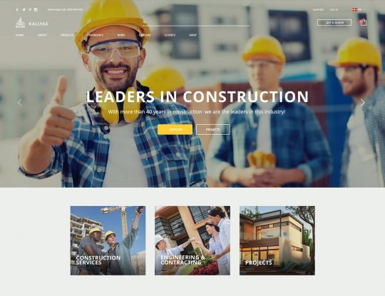 Construction Architect WordPress Theme - Kallyas
