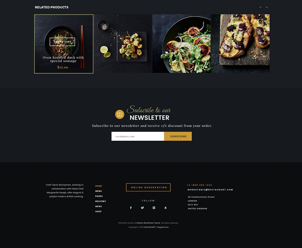 Danny's Restaurant WordPress Theme