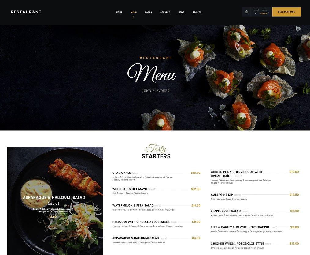 Restaurant WordPress Theme Danny S