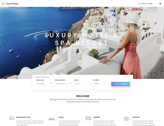 Greek Hotel Booking Resort WordPress Theme - Kallyas