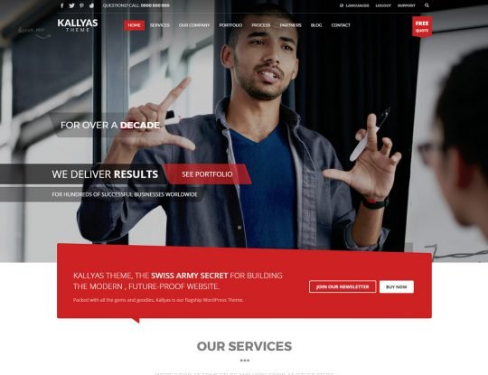One Page WordPress Theme - Kallyas