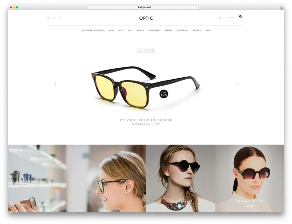 Glasses Store WordPress Theme - Kallyas
