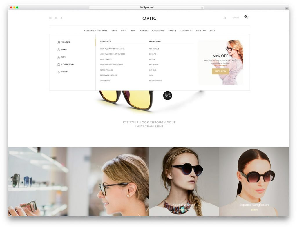 Glasses Store WordPress Theme Kallyas - Mega menu