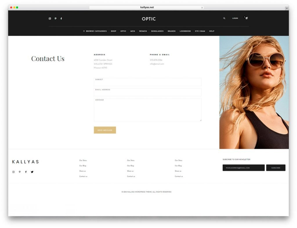Glasses Store WordPress Theme - Contact page with a gorgeous design