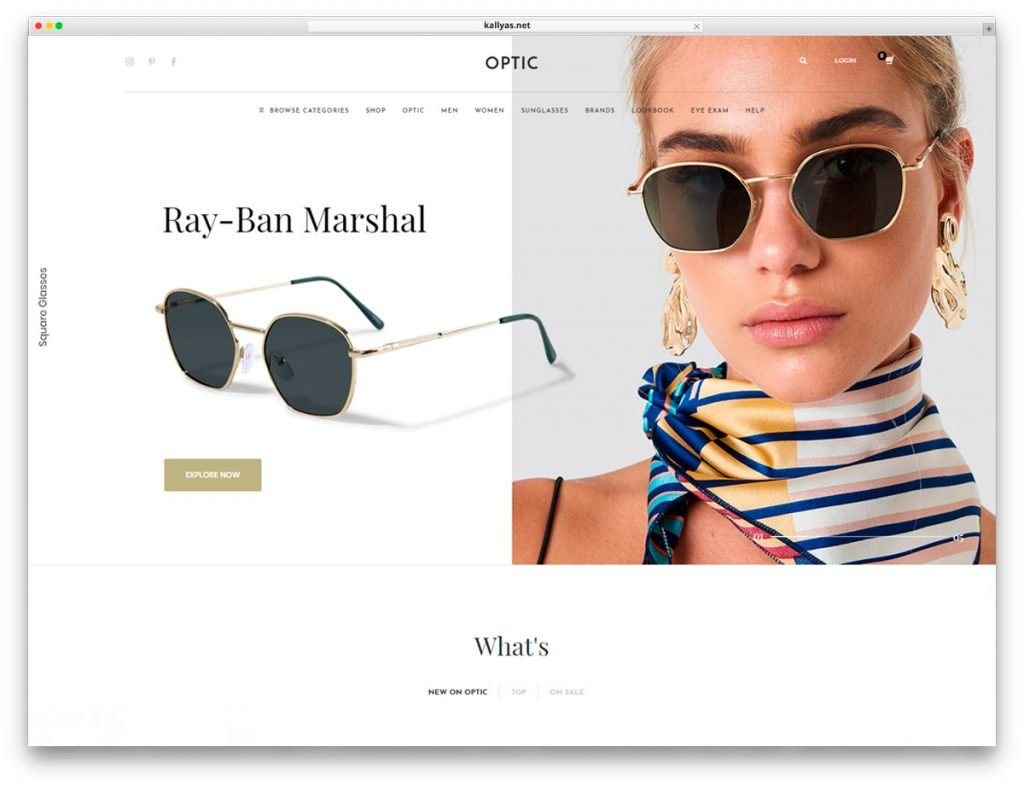 Homepage style 2 - Glasses Store WordPress Theme