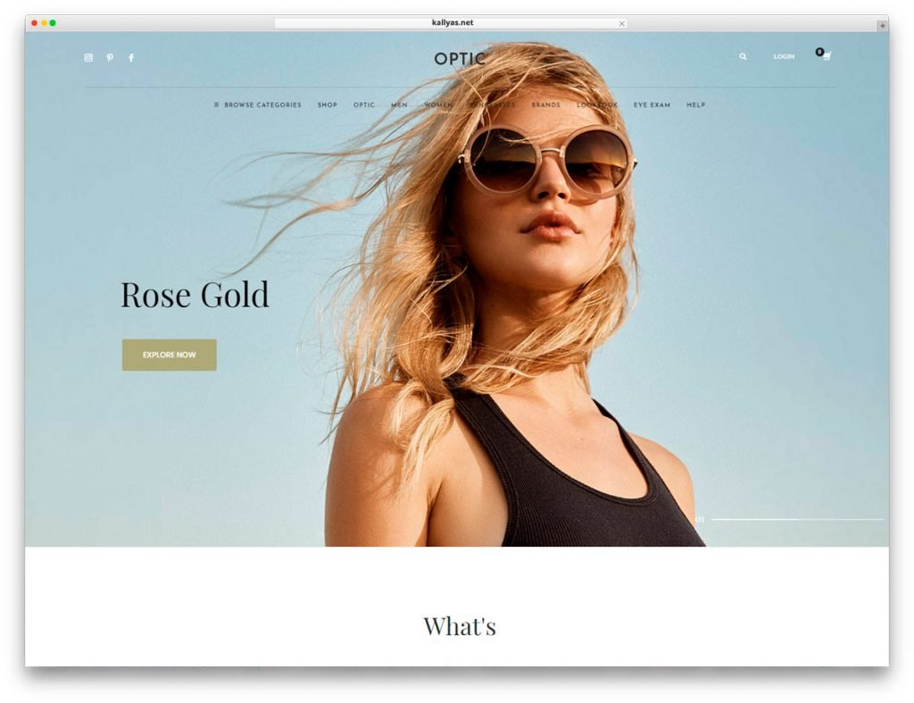 Homepage style 3 - Glasses Store WordPress Theme