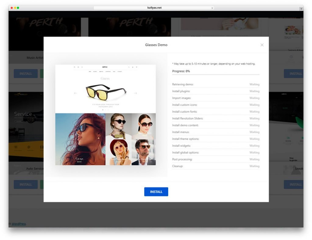 Install Glasses WordPress Theme with one click.