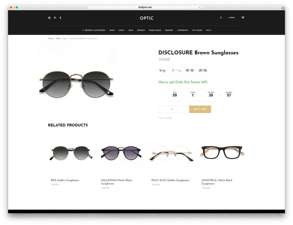 Glasses Store WordPress Theme - Product page with Countdown Timer feature