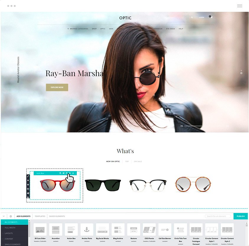 Glasses store WordPress Theme Kallyas