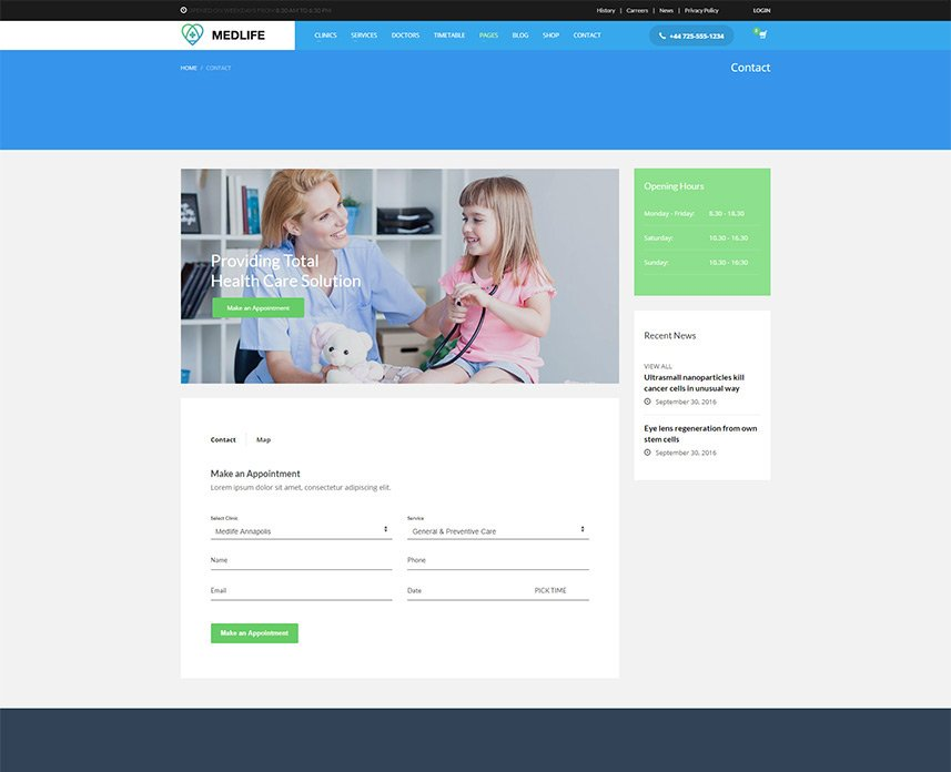 Health & Medical WordPress Theme - Contact page style 1