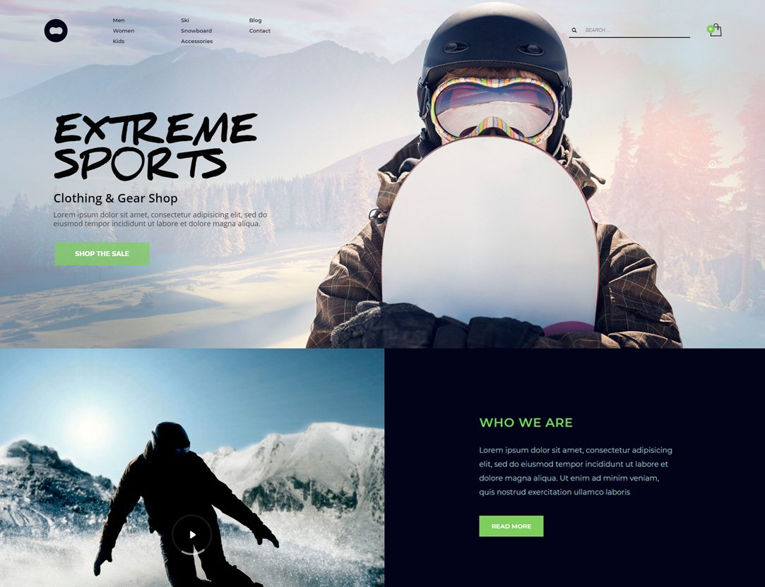 Winter Sports Shop WordPress Theme - Kallyas