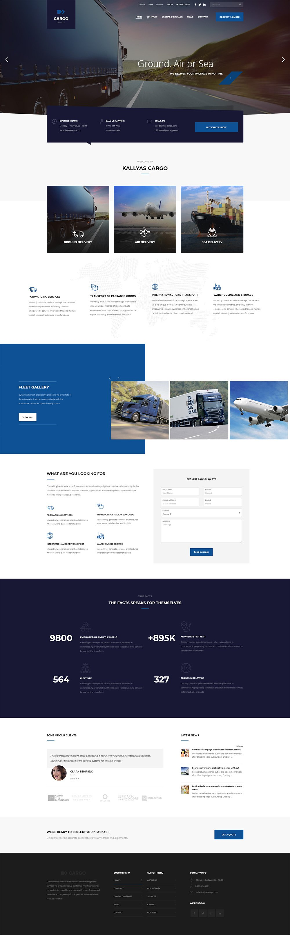 Cargo & Transportation - Free PSD Template