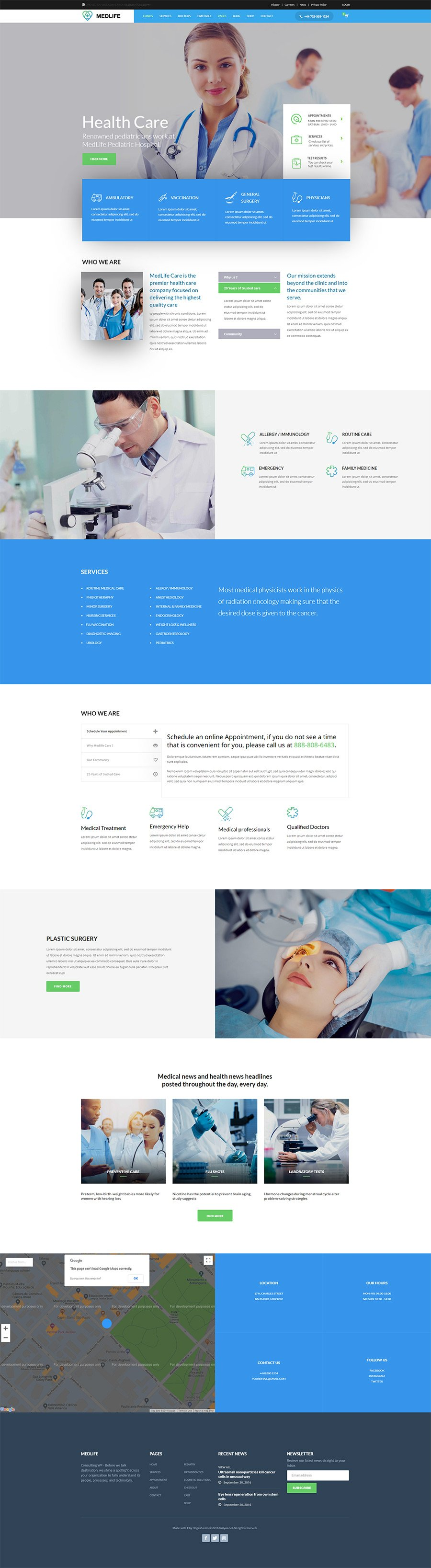 HealthCare Medical Clinic - Free PSD Template from Hogash Studio