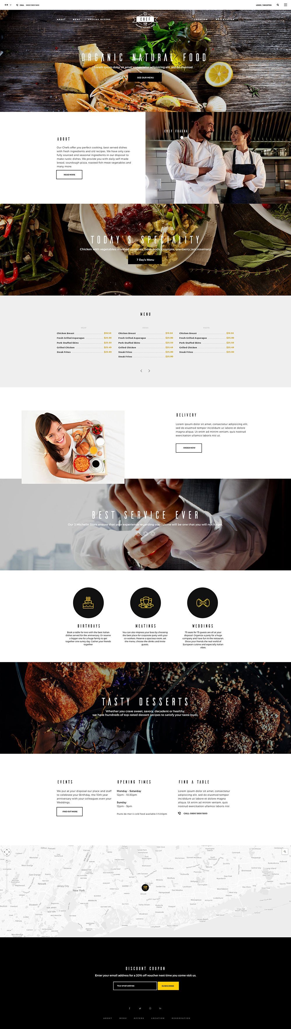 Restaurant – Free PSD Template | Hogash Studio