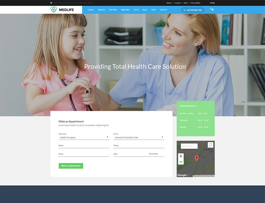 Health & Medical WordPress Theme - Contact page style 2