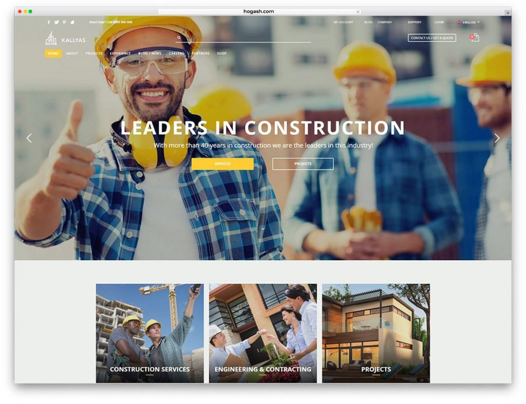 Construction Free PSD Website Template