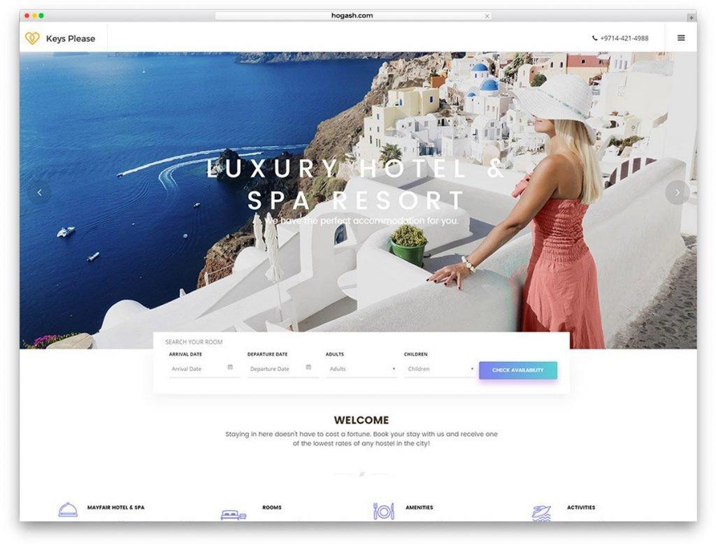 Greek Hotel Free PSD Website Template