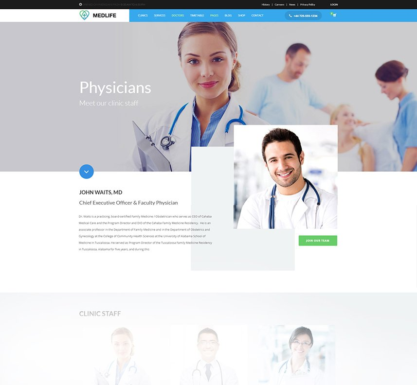 Health & Medical WordPress Theme - Doctors & Medical personnel layouts