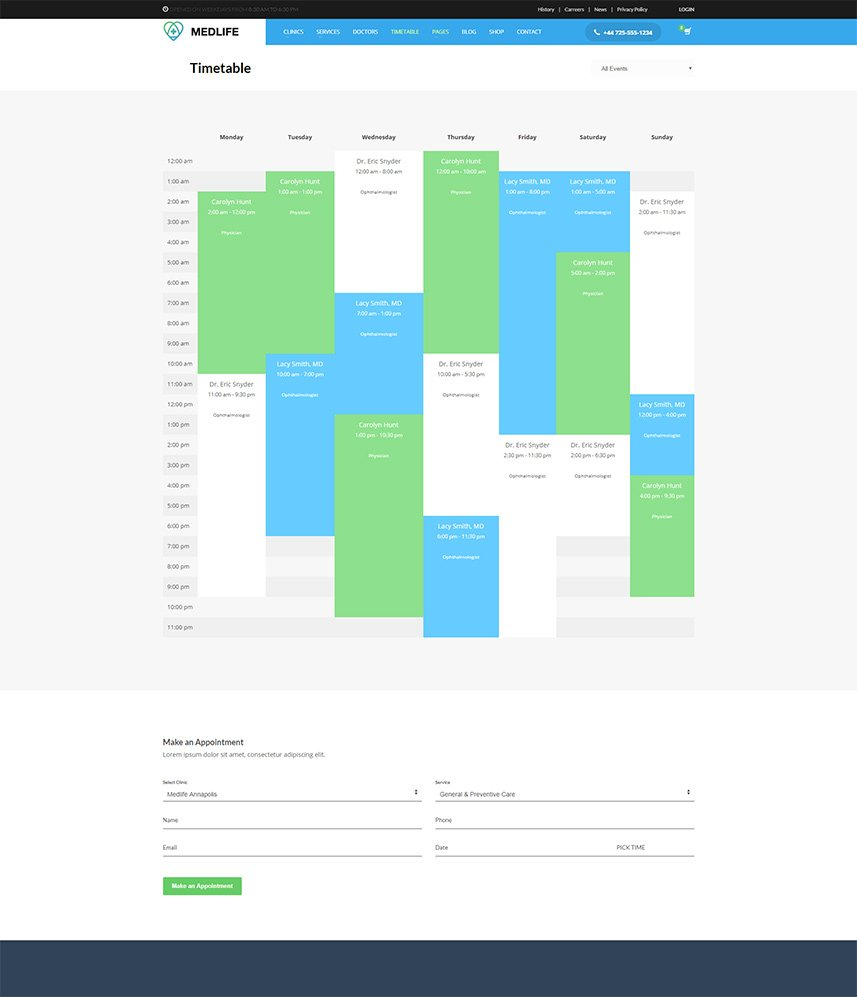 Health & Medical WordPress Theme - Timetable & Appointment