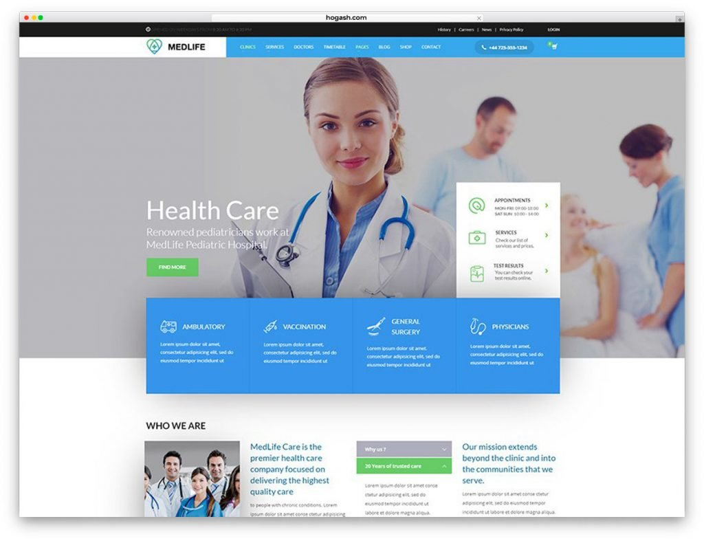 HealthCare - Medical Clinic Free PSD Website Template
