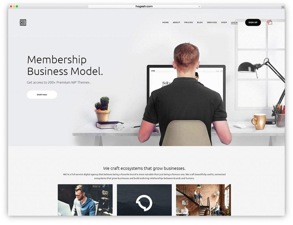 Membership & Shop Free PSD Website Template