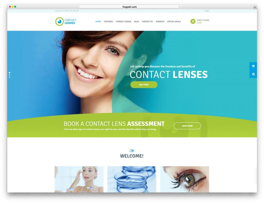 Contact Lenses Store WordPress Theme