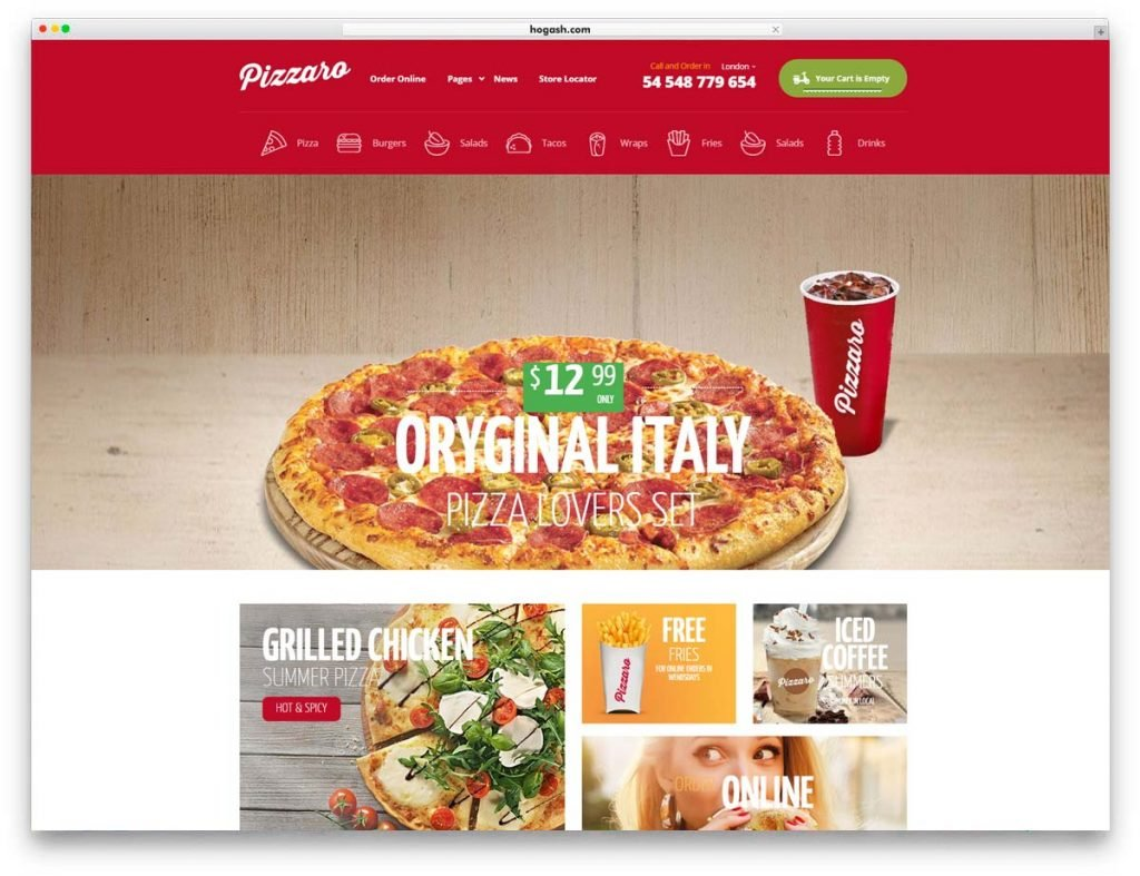 Pizza Delivery Restaurant WordPress Theme