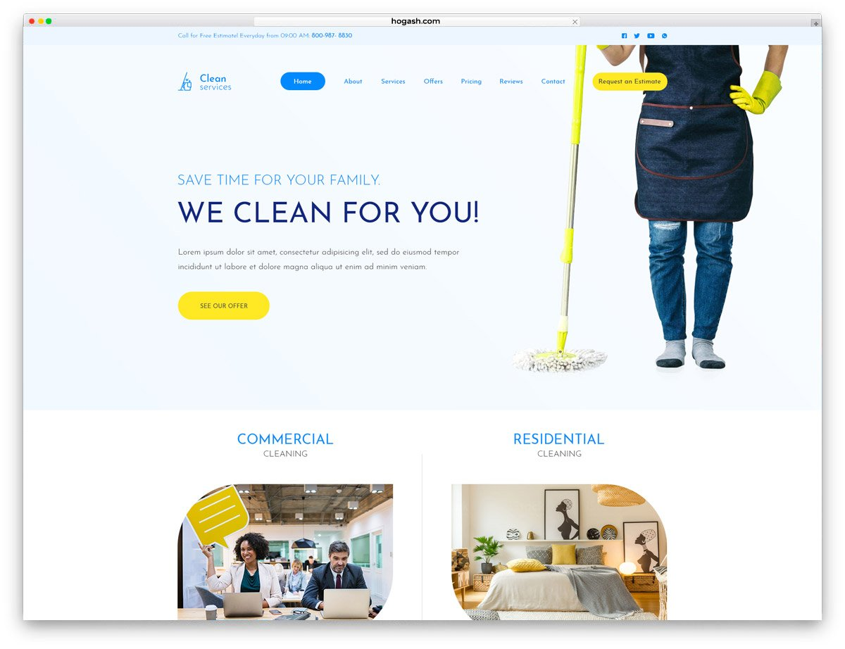 Cleaning Services - Free PSD Website Template