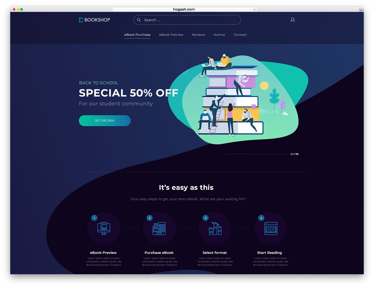 eBook Store - Free PSD Website Template
