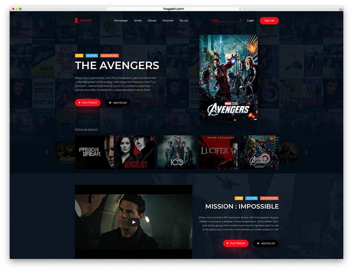 Movie Presentation Free PSD Website Template