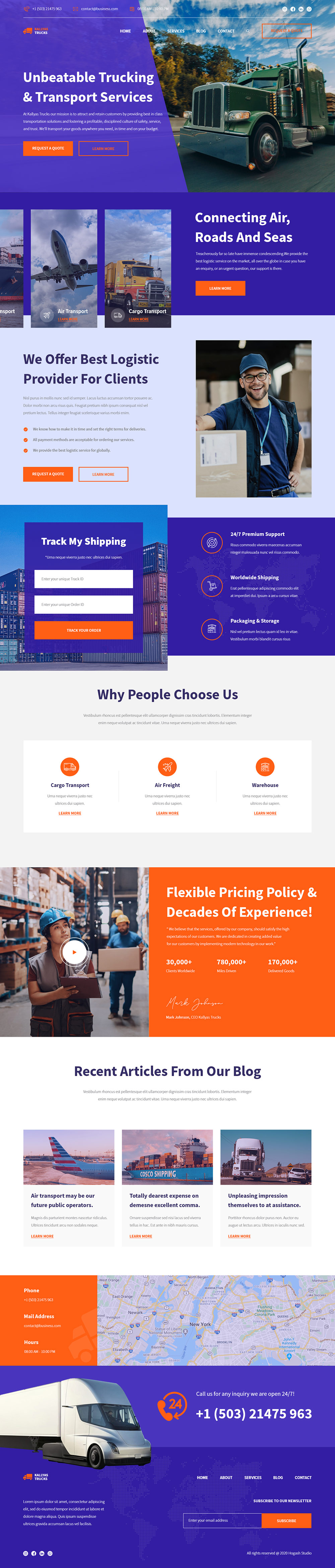 Transport Services - Free PSD Template