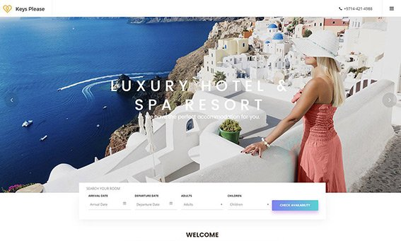 Greek Hotel - Free PSD Template