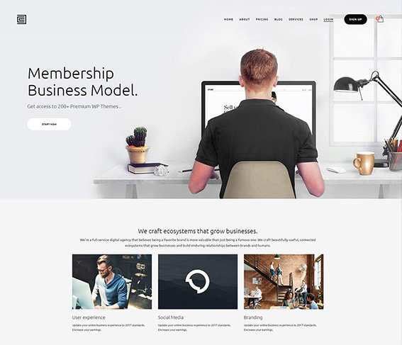 Membership & Shop - Free PSD Template