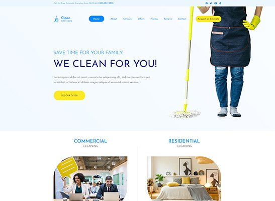 Cleaning Services - Free PSD Template