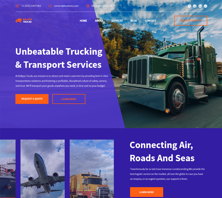 Transport Services Free PSD Template
